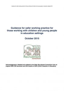 Guidance for safer working practice for those working with children and young people in education settings