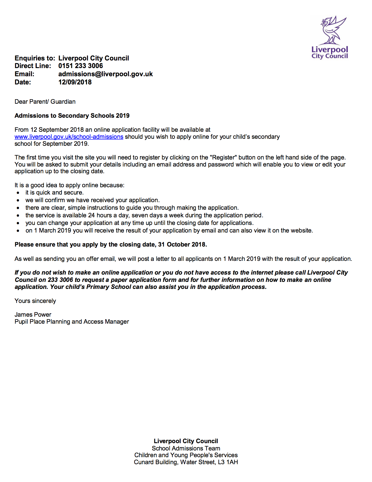 Year 6 Online Application Letter For Parents Florence